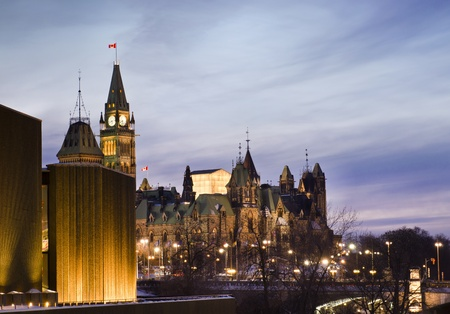 The canadian Parliament Centre and East blocks  seen from the National Art Centre in Ottawa, Canada