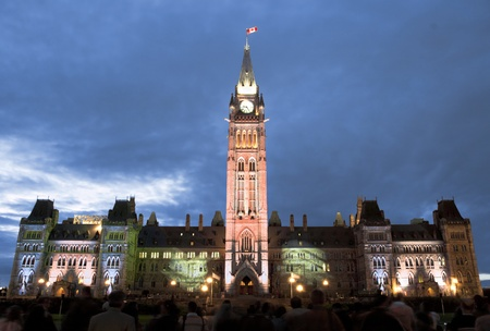 The canadian Parliament Centre block during the sound and light show on the Hill in Ottawa  photo