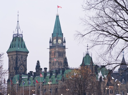 The canadian Parliament East and Centre blocks in winter