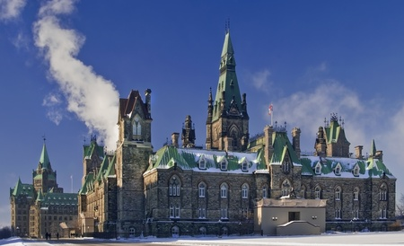 The canadian Parliament West Block building during winter  photo