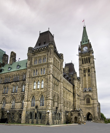The canadian Parliament Centre Block seen from the west side  photo