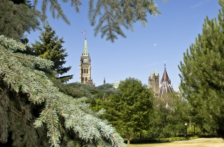The canadian Parliament Centre Block and The Library seen from Major Stock Photo