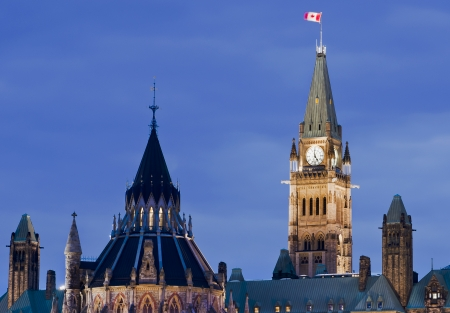 A closeup of the canadian Parliament and library architecture at 5:00 p.m. in Ottawa, Canada. photo