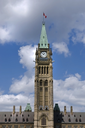 The canadian Parliament Centre Block during the lunch hour in Ottawa, Canada  photo