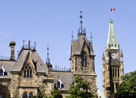 The Canadian Parliament with the East and Centre Block towers in Ottawa, Canada