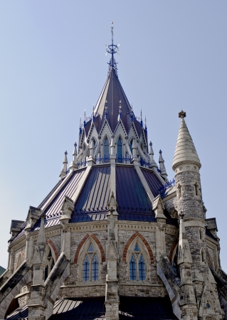 A closeup of the Library of Parliament with small tower on the side in Ottawa, Canada