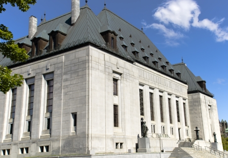 A corner view of the Supreme Court of Canada on Wellington Street in the capital city Ottawa, Canada  Stock Photo