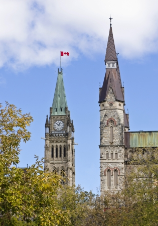 The canadian Parliament Centre Block Peace Tower along with the West Block Tower in Ottawa, Canada