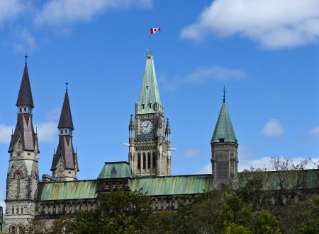 The canadian Parliament Centre and West Block towers in Ottawa, Canada
