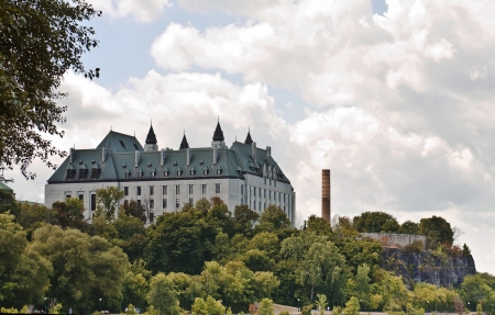 The Supreme Court of Canada viewed from behind where it faces the Ottawa river  Stock Photo