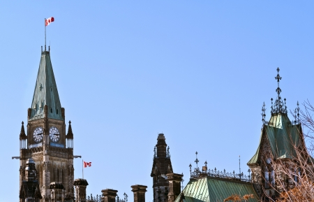 The canadian Parliament Centre and East blocks in Ottawa, Canada