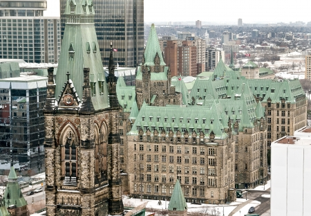 An aerial view of the Canadian Parliament West Block tower and the Confederation Building in Ottawa, Canada.