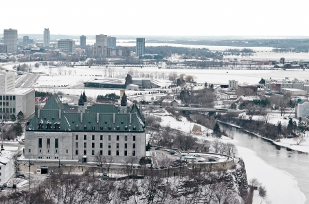 The supreme Court of Canada seen from up high, overlooking the Ottawa river. Stock Photo