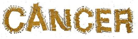 e cigarette: A Cancer sign made of cigarette butts on white background