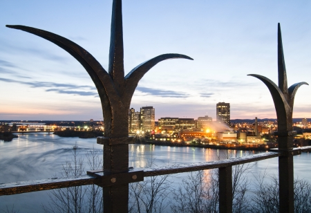 A view of gatineau, quebec from Parliament Hill during sunset.