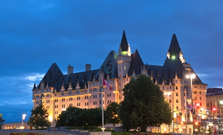 The Fairmont Chateau Laurier Hotel in downtown Ottawa during sunset.