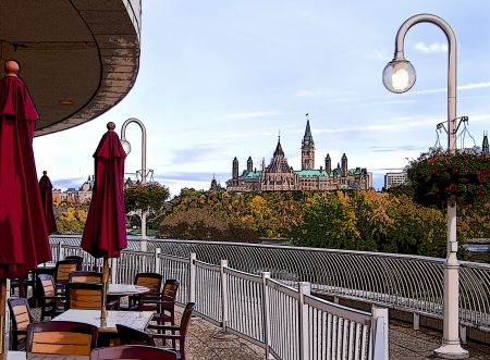 The Canadian Parliament seen from across the Ottawa river from the Canadian Civilization museum restaurant patio.