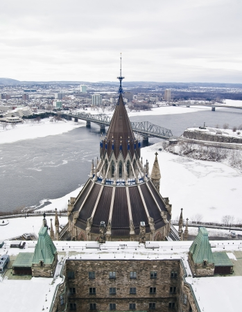 The Library of Parliament seen high up from the Centre Block observation tower during winter in Ottawa.