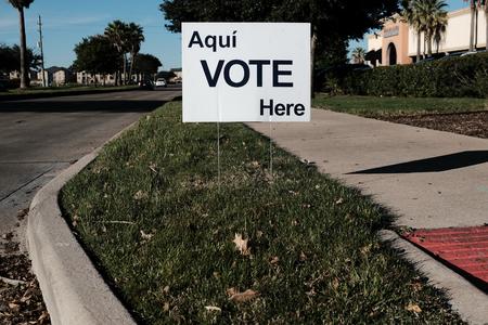 Vote Here Sign Outside Voting Station for November 6, 2018 General Election