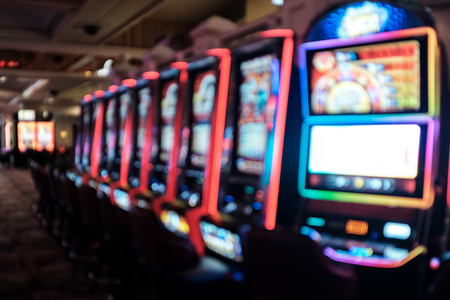 Slot machines, Las Vegas, Nevada. Blurred background. Gambling, Addiction Themed Stockfoto