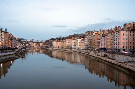 Quai Saint Vincent on the banks of the Saône river in Lyon at dawn