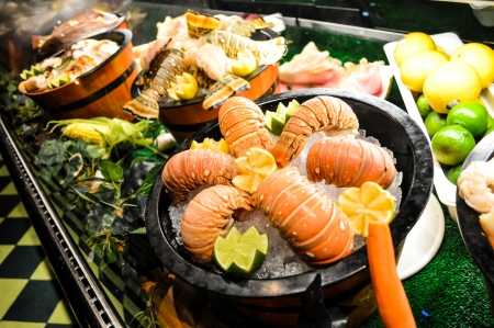 body concern: delicious arrangement of seafood - lobsters, shrimp, fresh fish Stock Photo