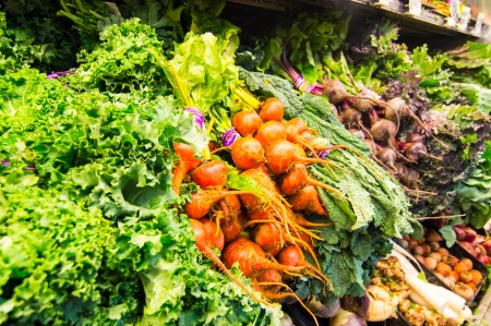 body concern: Healthy fresh vegetables in grocery display.