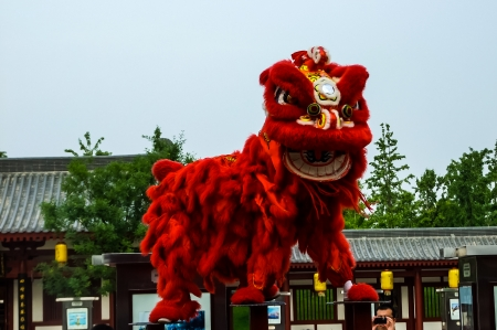 Traditional Chinese New Year Lion dancers performing in Xian, China
