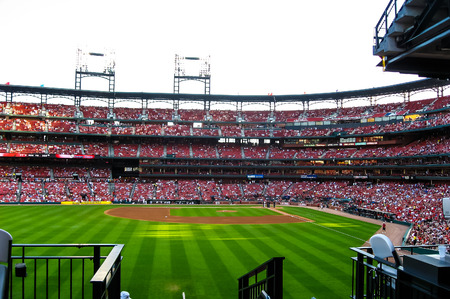 baseball stadium: Baseball game in Cardinals stadium .