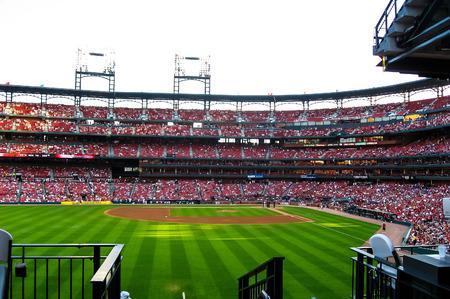 baseball game: Baseball game in Cardinals stadium .