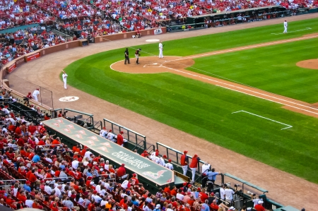 Baseball game in Cardinals stadium .