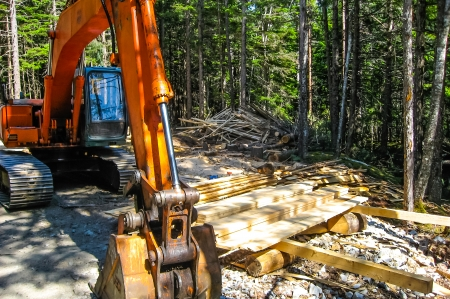 Bulldozer on construction grounds photo