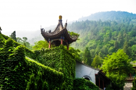 Traditional Chinese Pagodas in scenic location Stock Photo