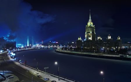 Could Moscow at night. Frozen  river,  tower, parliament Stock Photo