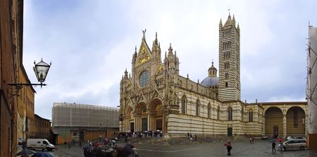Detaled panorama of Domo in Siena cloudy day