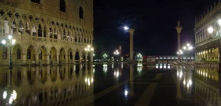 water flooding at San Marso square (piazza) Venive, Italy photo