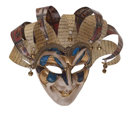 Italian traditional mask of Harlequin three-quarters. Venice