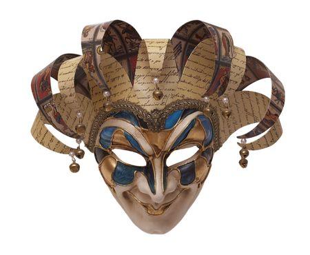papier mache: m�scara de tradicional italiana de arlequ�n frontal. Carnaval de Venecia