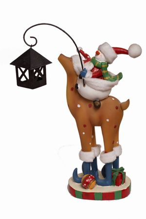 Isolated snowman riding deer at white background. Xmas gift