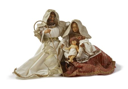 Nativity scene, holy family together. Isolated on white background Stock Photo - 5962748