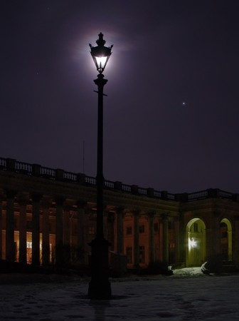 streetlights: Old streetlight at night . Blue moon dark palace