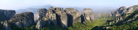hermits: Wide panorama of the miracle Meteora rock monasteries for hermits. Greece. Stock Photo