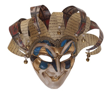 Italian traditional mask of Harlequin three-quarters. Venice