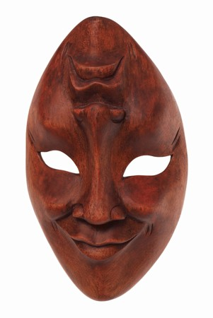 souvenir traditional: Greek traditional olive wood mask three-quarters Stock Photo