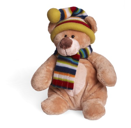 Isolated teddy bear sitting at white background. Soft children toy in winter clothing photo