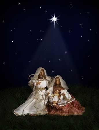 Nativity scene with Mary, Joseph, baby Jesus on dark background with Christmas star