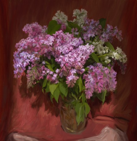 still life flowers: Lilac bouquet in a glass vase, my own painting