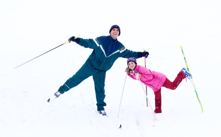 country girls: Family Skiing Stock Photo
