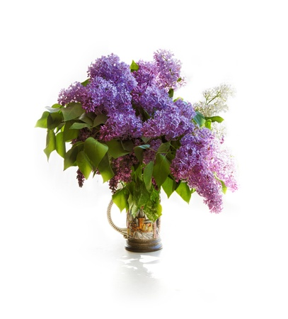 Bouquet of a lilac in a bright jar on light tones. photo
