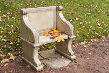 stone park bench with colorful autumn leaves photo